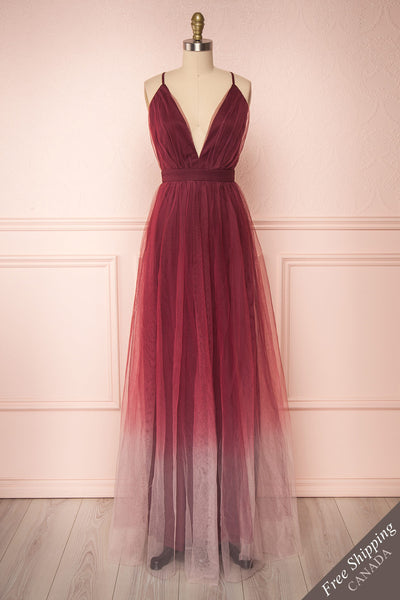 Docina Volcano Burgundy Tulle Maxi Prom Dress | FRONT VIEW | Boutique 1861