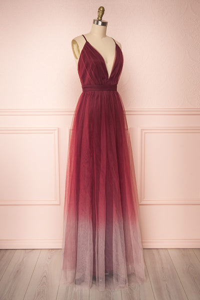 Docina Volcano Burgundy Tulle Maxi Prom Dress  | SIDE VIEW | Boutique 1861