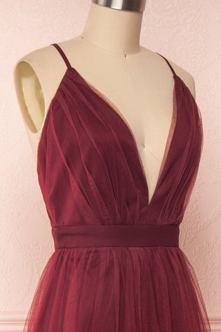 Docina Volcano Burgundy Tulle Maxi Prom Dress  | SIDE CLOSE UP | Boutique 1861
