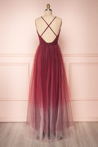 Docina Volcano Burgundy Tulle Maxi Prom Dress  | BACK VIEW | Boutique 1861