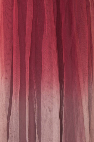Docina Volcano Burgundy Tulle Maxi Prom Dress  | FABRIC DETAIL | Boutique 1861