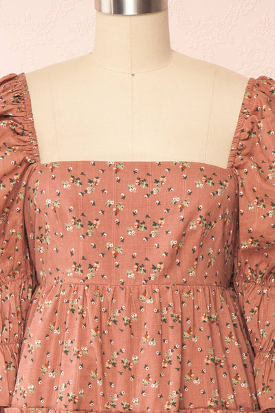 Dolly Rose Pink Square Neck Floral Short Dress | Boutique 1861 front close up