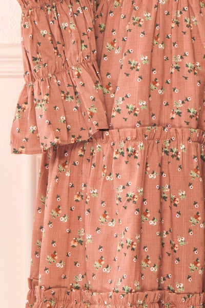 Dolly Rose Pink Square Neck Floral Short Dress | Boutique 1861 sleeve
