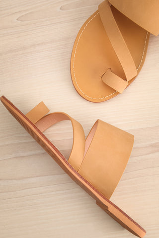 Domus Sable Beige Faux-Leather Slip-On Sandals | La Petite Garçonne 1