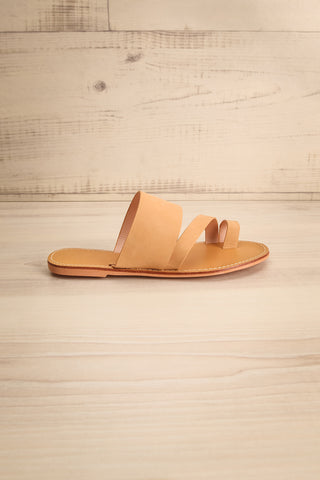 Domus Sable Beige Faux-Leather Slip-On Sandals | La Petite Garçonne 5