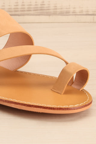 Domus Sable Beige Faux-Leather Slip-On Sandals | La Petite Garçonne 4