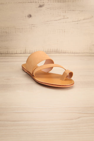 Domus Sable Beige Faux-Leather Slip-On Sandals | La Petite Garçonne 3