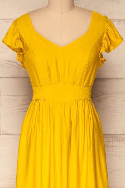 Doncaster Yellow Midi A-Line Dress w/ Ruffles | La Petite Garçonne front close-up