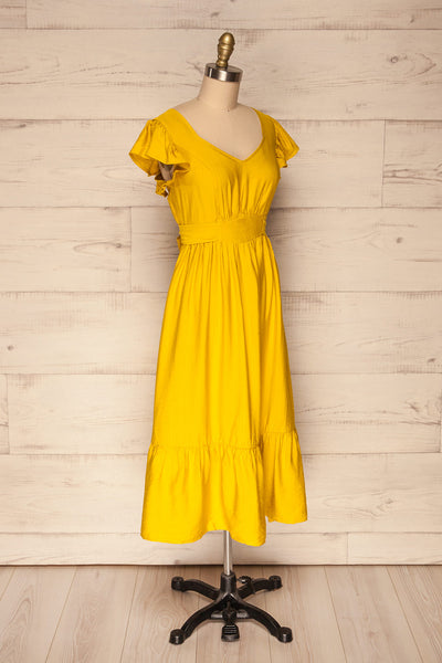Doncaster Yellow Midi A-Line Dress w/ Ruffles | La Petite Garçonne side view