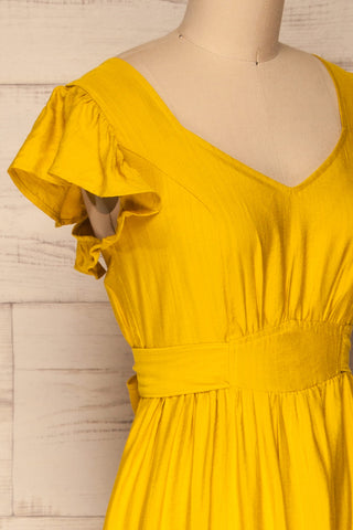 Doncaster Yellow Midi A-Line Dress w/ Ruffles | La Petite Garçonne side close-up