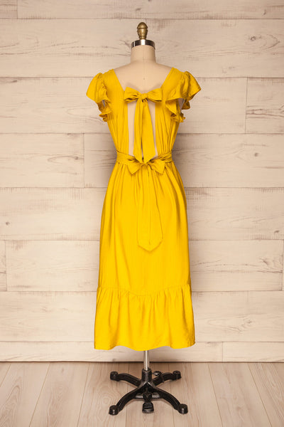 Doncaster Yellow Midi A-Line Dress w/ Ruffles | La Petite Garçonne back view