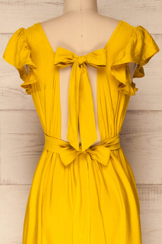 Doncaster Yellow Midi A-Line Dress w/ Ruffles | La Petite Garçonne back close-up