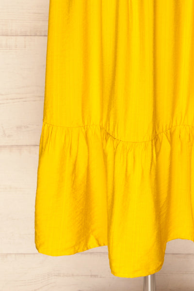 Doncaster Yellow Midi A-Line Dress w/ Ruffles | La Petite Garçonne bottom close-up