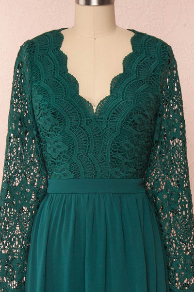 Dottie Emerald Green Lace & Chiffon A-Line Gown | Boutique 1861 front close-up