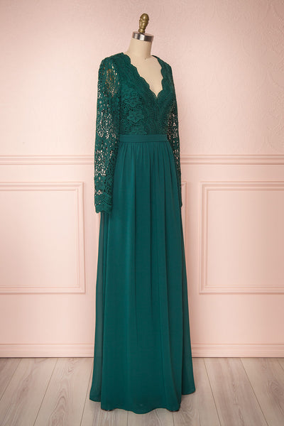 Dottie Emerald Green Lace & Chiffon A-Line Gown | Boutique 1861 side view
