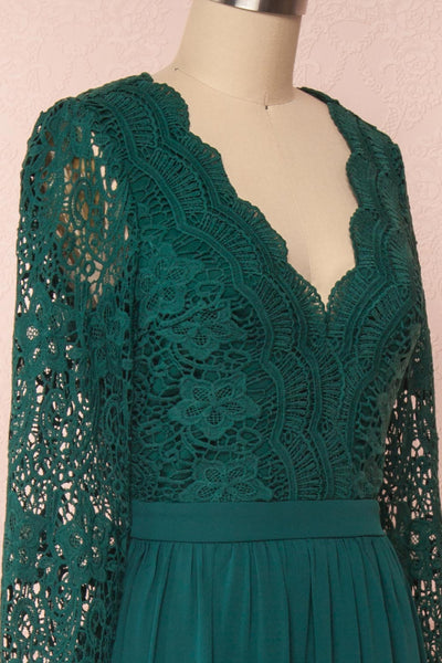 Dottie Emerald Green Lace & Chiffon A-Line Gown | Boutique 1861 side close-up