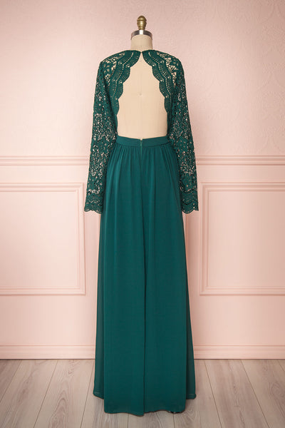 Dottie Emerald Green Lace & Chiffon A-Line Gown | Boutique 1861 back view