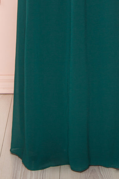 Dottie Emerald Green Lace & Chiffon A-Line Gown | Boutique 1861 bottom close-up