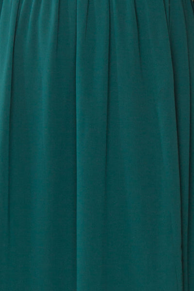 Dottie Emerald Green Lace & Chiffon A-Line Gown | Boutique 1861 fabric detail