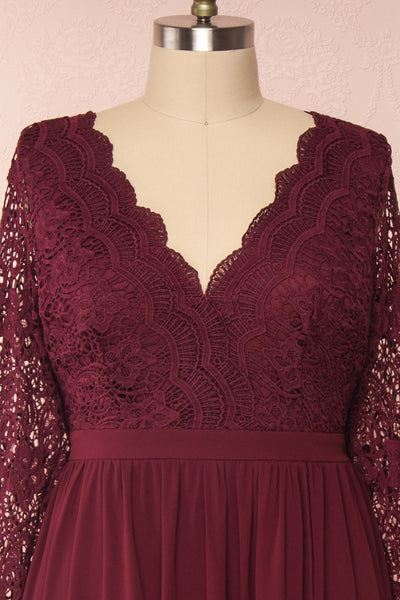Dottina Burgundy Lace & Chiffon Plus Size Gown front view | Boutique 1861