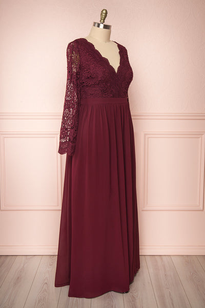 Dottina Burgundy Lace & Chiffon Plus Size Gown side view | Boutique 1861