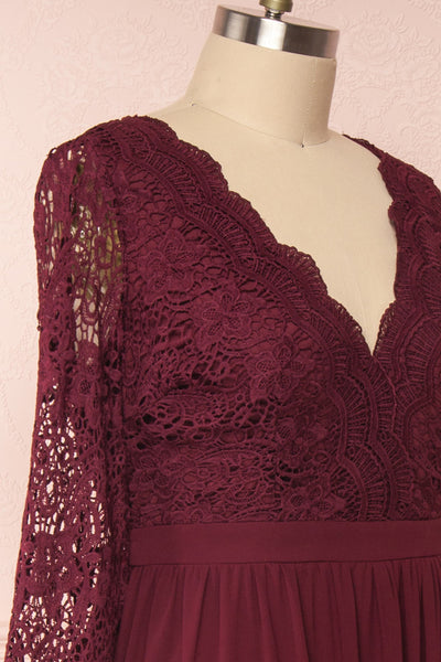 Dottina Burgundy Lace & Chiffon Plus Size Gown side close up | Boutique 1861