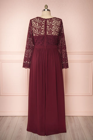Dottina Burgundy Lace & Chiffon Plus Size Gown back view | Boutique 1861