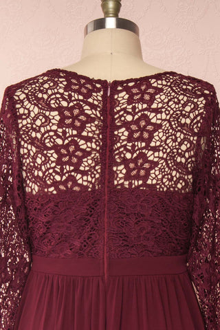 Dottina Burgundy Lace & Chiffon Plus Size Gown back close up | Boutique 1861
