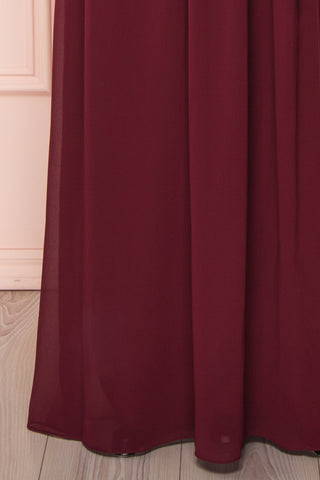 Dottina Burgundy Lace & Chiffon Plus Size Gown skirt close up | Boutique 1861