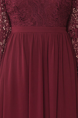 Dottina Burgundy Lace & Chiffon Plus Size Gown fabric close up | Boutique 1861