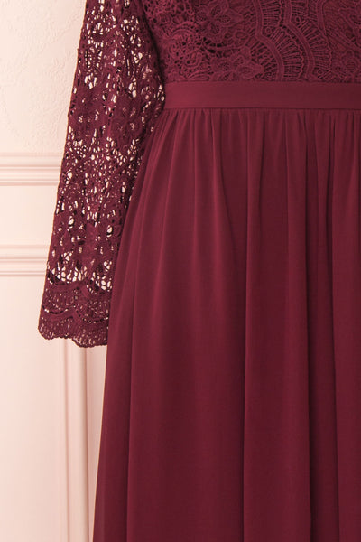 Dottina Burgundy Lace & Chiffon Plus Size Gown sleeve close up | Boutique 1861