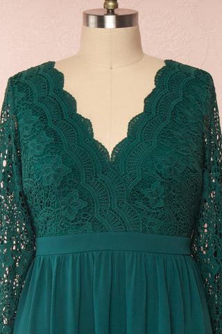 Dottina Emerald Green Lace & Chiffon Plus Size Gown front close up | Boutique 1861
