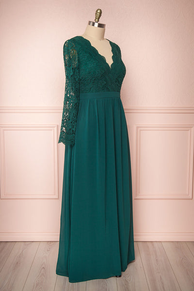 Dottina Emerald Green Lace & Chiffon Plus Size Gown side view | Boutique 1861