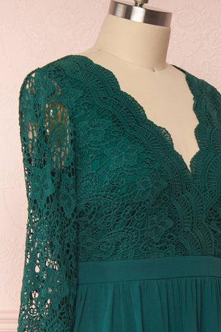 Dottina Emerald Green Lace & Chiffon Plus Size Gown side close up | Boutique 1861