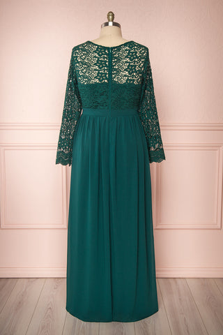 Dottina Emerald Green Lace & Chiffon Plus Size Gown back view | Boutique 1861
