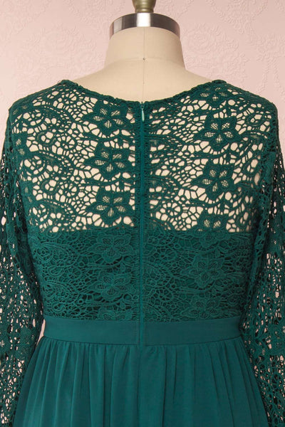 Dottina Emerald Green Lace & Chiffon Plus Size Gown backclose up | Boutique 1861