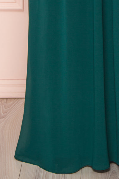 Dottina Emerald Green Lace & Chiffon Plus Size Gown skirt close up | Boutique 1861