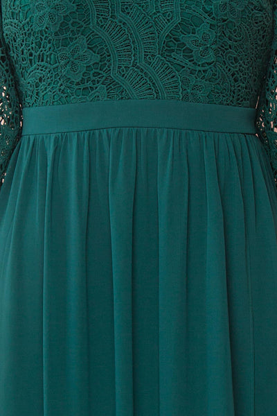 Dottina Emerald Green Lace & Chiffon Plus Size Gown fabric detail | Boutique 1861