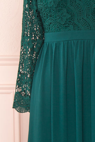 Dottina Emerald Green Lace & Chiffon Plus Size Gown sleeve close up | Boutique 1861