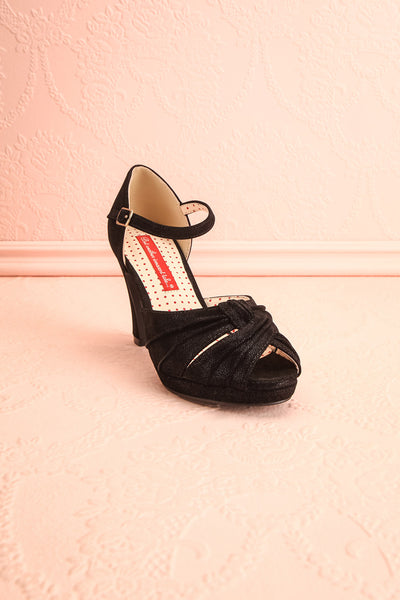 Dryope Black Retro Peep-Toe Heels | Talons | Boutique 1861 front view