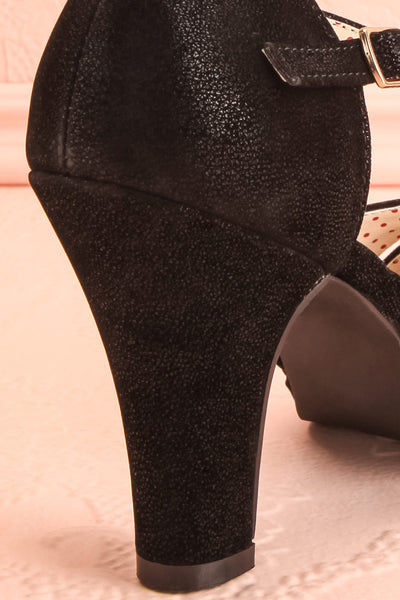 Dryope Black Retro Peep-Toe Heels | Talons | Boutique 1861 back close-up