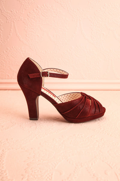 Dryope Wine Retro Peep-Toe Heels | Talons | Boutique 1861 side view