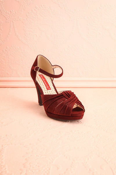 Dryope Wine Retro Peep-Toe Heels | Talons | Boutique 1861 front view