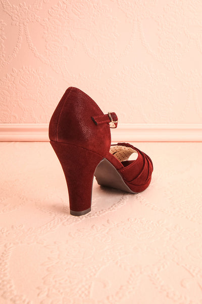 Dryope Wine Retro Peep-Toe Heels | Talons | Boutique 1861 back view