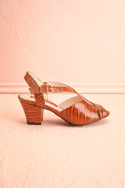Dulcina Brown High Heel Sandals | Sandales | Boutique 1861 side view