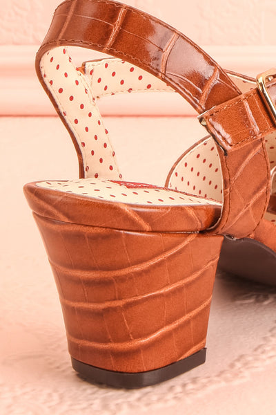 Dulcina Brown High Heel Sandals | Sandales | Boutique 1861 back close-up