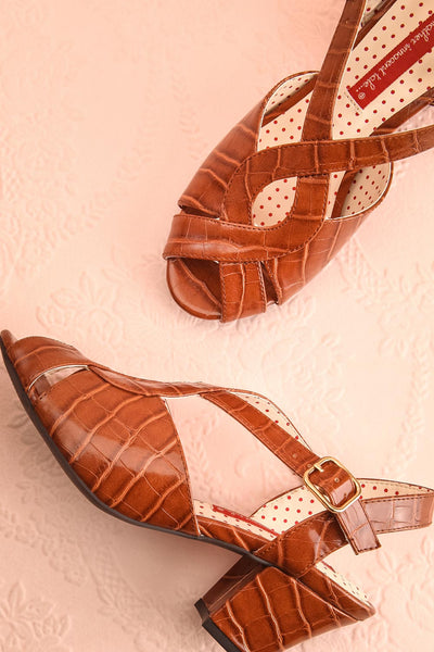 Dulcina Brown High Heel Sandals | Sandales | Boutique 1861 flat view
