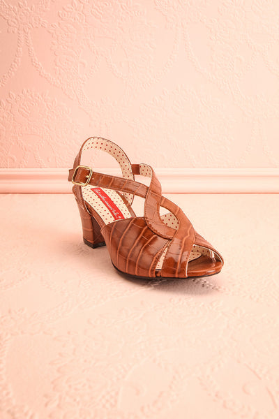 Dulcina Brown High Heel Sandals | Sandales | Boutique 1861 front view