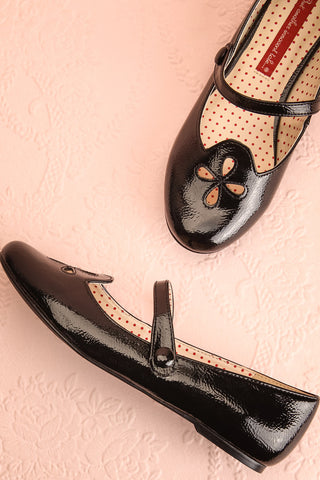 Duphot Noir Black Patent Mary Jane Ballet Flats | Boutique 1861