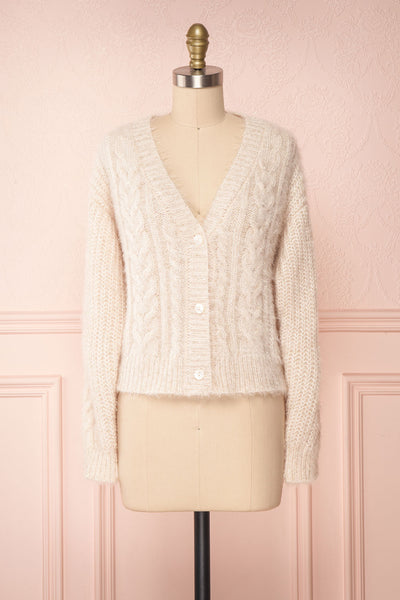 Durong Cream Fuzzy Knit Button-Up Crop Cardigan | FRONT VIEW | Boutique 1861